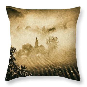 Throw Pillow featuring the photograph Foggy Tuscany by Silvia Ganora