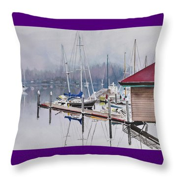 Foggy Dock Throw Pillow