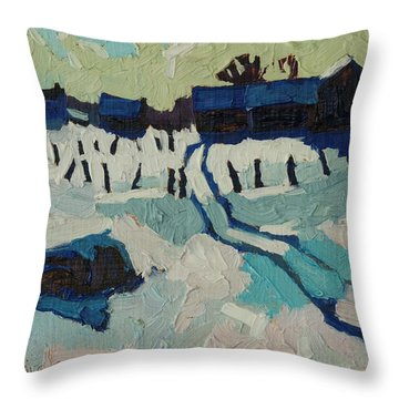 Foley Farm In Winter Throw Pillow