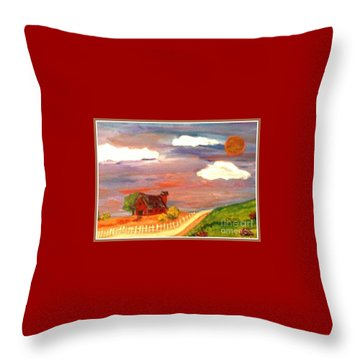 Throw Pillow featuring the painting Folk Art by Bobbee Rickard