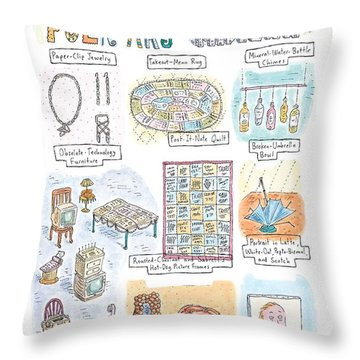 'folk Art Of Midtown' Throw Pillow