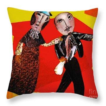 Folk Dancers Throw Pillow by Sarah Loft