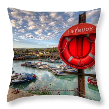 Folkstone Harbour Throw Pillow by Tim Stanley