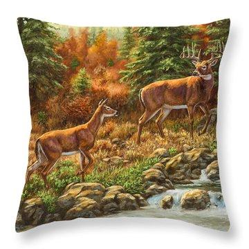Whitetail Deer - Follow Me Throw Pillow