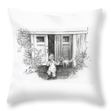 Throw Pillow featuring the drawing Follow Me by Joy Nichols