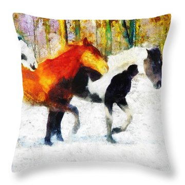 Follow The Leader Throw Pillow by Greg Collins