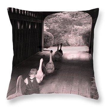 Follow The Leader Throw Pillow by Mary Lou Chmura