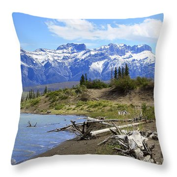 Following The Athabasca River Throw Pillow by Teresa Zieba
