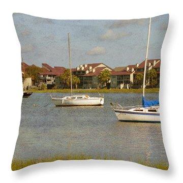 Folly Beach Boats Throw Pillow