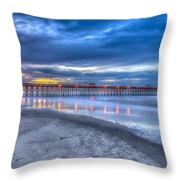 Folly Beach Fishing Pier Throw Pillow