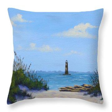 Folly Beach Lighthouse Throw Pillow