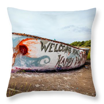Throw Pillow featuring the photograph Folly Boat by Sennie Pierson