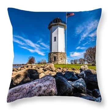 Fond Du Lac Lighthouse Throw Pillow by Randy Scherkenbach