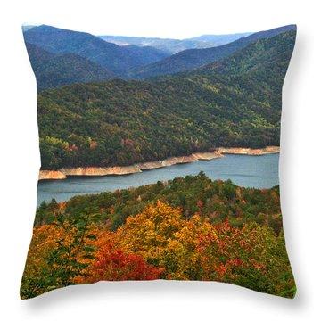 Fontana Lake In Fall Throw Pillow