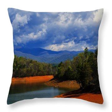 Fontana Lake Storm Throw Pillow by Chris Flees