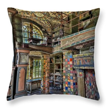 Fonthill Castle Library Room Throw Pillow by Susan Candelario
