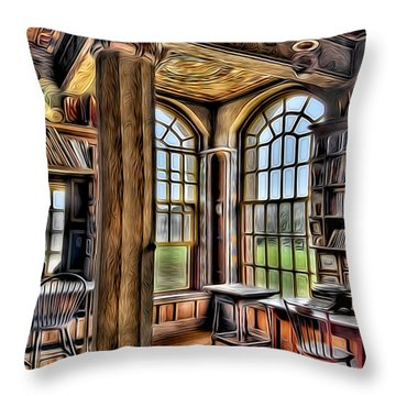 Fonthill Castle Office Throw Pillow by Susan Candelario
