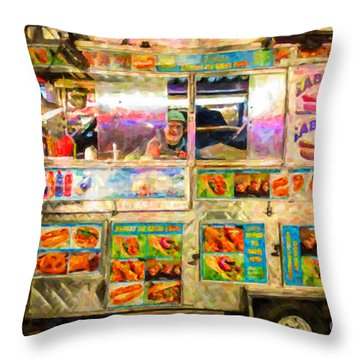 Food Cart In New York City Throw Pillow by Diane Diederich