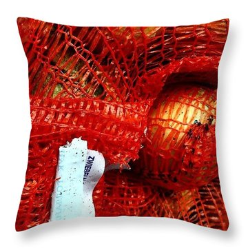 Onions In A Sack Throw Pillow by Jason Michael Roust