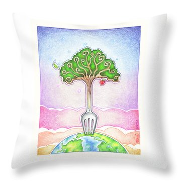 Food For Life Throw Pillow by Pop Art Diva