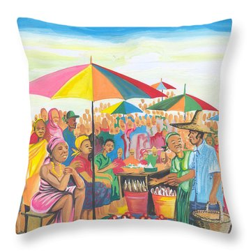 Food Market In Cameroon Throw Pillow