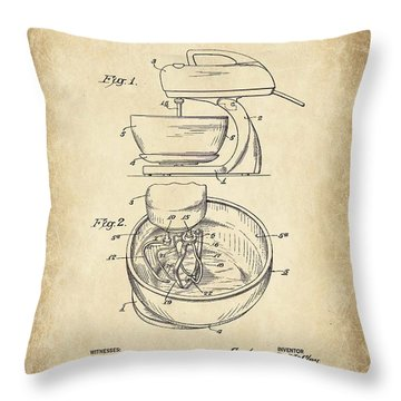 Food Mixer Patent Kitchen Art Throw Pillow