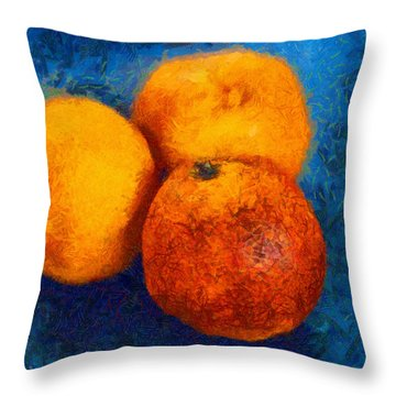Food Still Life - Three Oranges On Blue - Digital Painting Throw Pillow