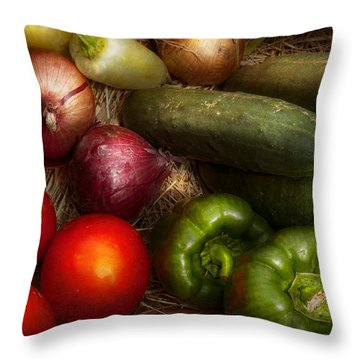 Food - Vegetables - Onions Tomatoes Peppers And Cucumbers Throw Pillow by Mike Savad