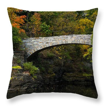 Foot Bridge At Beebe Lake Throw Pillow