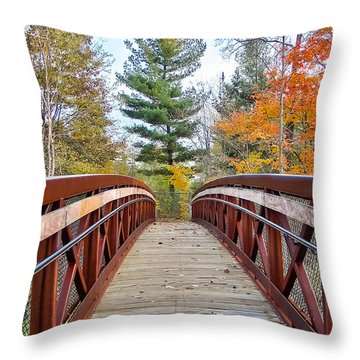Foot Bridge In Fall Throw Pillow