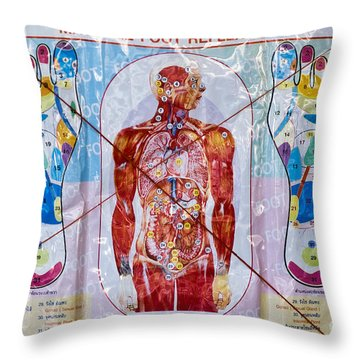 Foot Massage Throw Pillow by Luciano Mortula