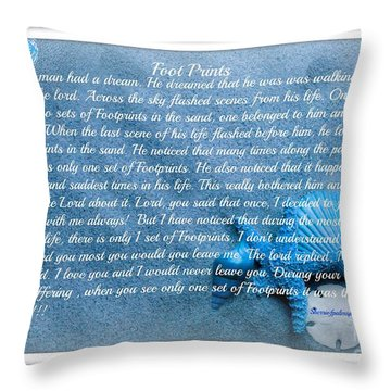 Throw Pillow featuring the photograph  Spiritual Foot Prints By Sherri Of Palm Springs by Sherri  Of Palm Springs