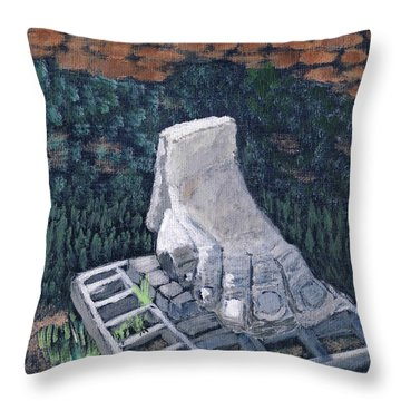 Foot Statue-caesaria Throw Pillow