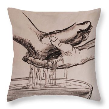 Foot Washing Throw Pillow by Heidi E  Nelson