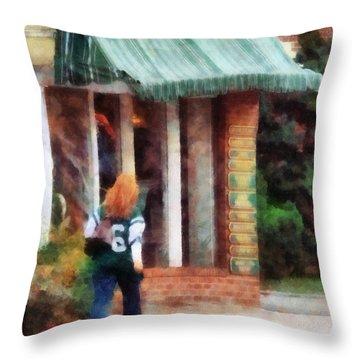 Football Fan Throw Pillow by Susan Savad