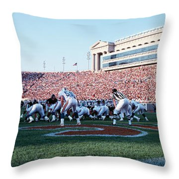 Football Game, Soldier Field, Chicago Throw Pillow by Panoramic Images