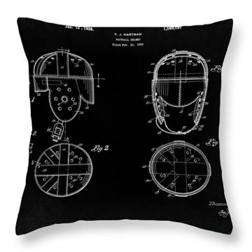 Football Helmet 1926 - Black Throw Pillow