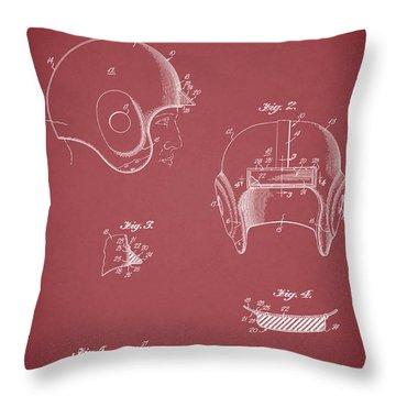 Football Helmet 1954 - Red Throw Pillow