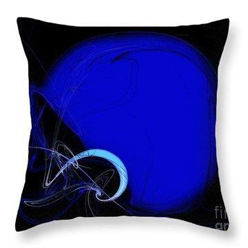 Football Helmet Blue Fractal Art 2 Throw Pillow by Andee Design