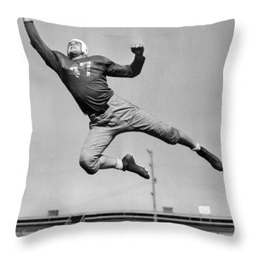 Football Player Catching Pass Throw Pillow