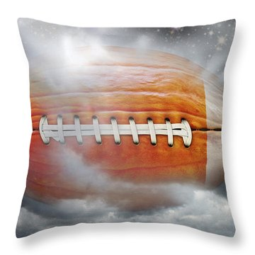 Football Pumpkin Throw Pillow