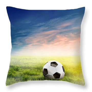 Football Soccer Ball On Green Grass Throw Pillow