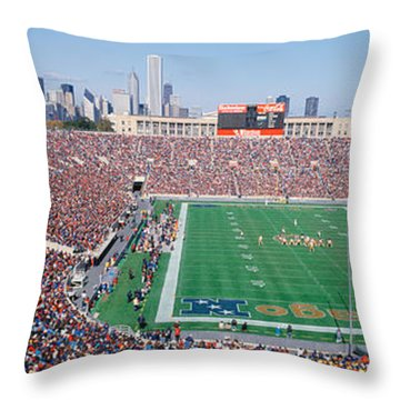 Football, Soldier Field, Chicago Throw Pillow by Panoramic Images
