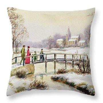 Footbridge In Winter Throw Pillow by Stanley Cooke