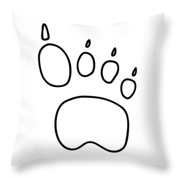 Footprint Bear Wulf Tiger Throw Pillow by Lineamentum
