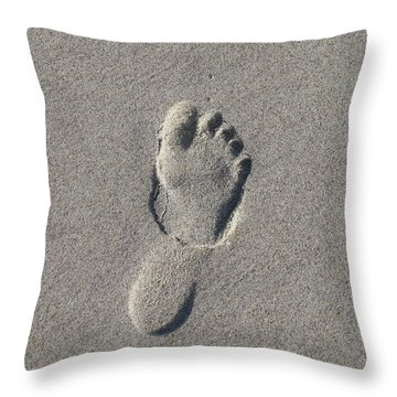 Footprint In The Sand Throw Pillow by Ellen Meakin