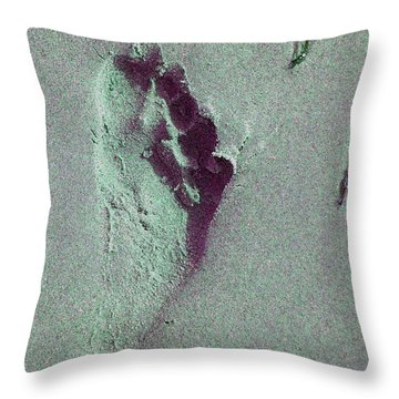 Footprint Throw Pillow by Mini Arora