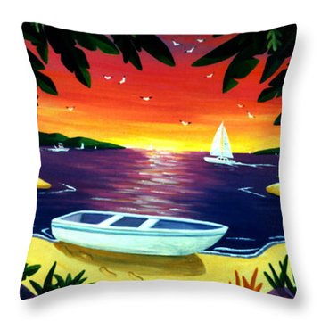Footprints In Paradise Throw Pillow by Lance Headlee