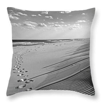 Throw Pillow featuring the photograph Footprints In The Sand by Debra Fedchin