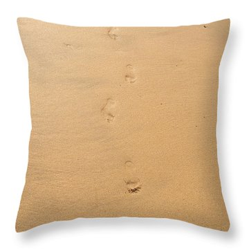 Footprints In The Sand Throw Pillow by Pixel  Chimp